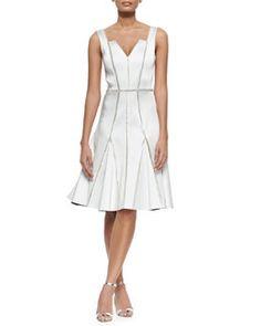 T9FA9 Rachel Gilbert Kasia Beaded-Seam Fit-and-Flare Dress, Ivory