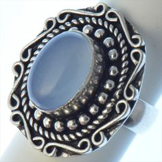 Vintage Sterling Silver - Ornate Oval Blue Moon Stone Ring