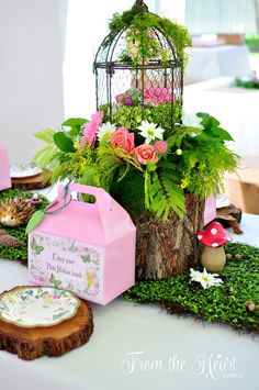Pixie Hollow table centerpiece from a Neverland Birthday Party on Kara's Party Ideas | KarasPartyIdeas.com (41)