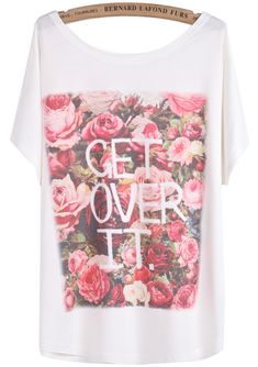 White Batwing Short Sleeve Rose Letters Print T-Shirt US$15.86