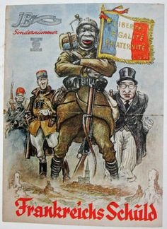 Another German propaganda poster against black French soldiers. (France shielding behind its black colonial troops) Picture courtesy of French Historian, Eric Deroo's private collection.