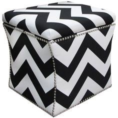 Skyline Furniture Nail Button Storage Ottoman in Zippy -White