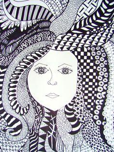 Zentangle Hair - student work - Betzy Middle School Art Projects, Op Art, Visual, Drawings, Zentangle, Painting, Mandala Pattern, Art, Artsy