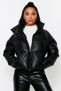 leather look Padded Puffer Jacket. Order Today, Get Next Day Delivery & Take Your Wardrobe From Zero To 100 At MissPap. Blue Puffer Jacket, Puffer Jackets, Winter Jackets, Leather Jacket, Neon Number, Double Denim, Clear Heels, Collection Services