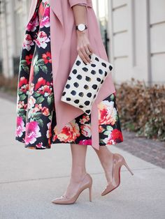 ladylike florals with black and white polkadots