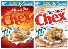 General Mills Gluten-Free Cereals! Regular and Honey-Nut Chex avail at most Canadian Grocery stores.  Apple-Cinnamon avail at FUK Flour in Manotick .. and in the U.S.