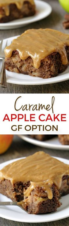 Caramel Apple Cake - super moist with an incredible caramel frosting! Can be made with gluten-free, all-purpose or whole wheat flours.