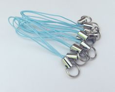 12 Light Blue Cell Phone Charm Straps w/ Split by GoToSupplies (Craft Supplies & Tools, Jewelry & Beading Supplies, Findings & Hardware, leash, phone, cellphone, zipper pull, findings, lariat, oldtimeetsyteam ote, etsysupplies, baby blue, craft supply, charm strap supply, diy supplies, jewely supplies)