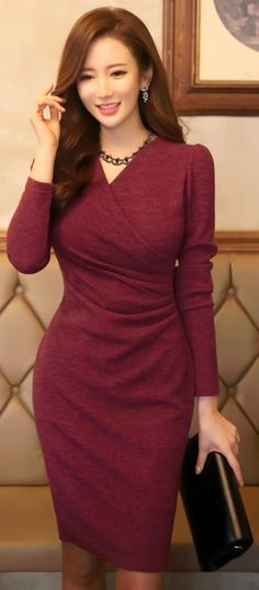 """Slim Fit Side Shirred Wrap Dress Love this. Would prefer it without the """"puffed"""" sleeve, but it's small enough that I'd wear it anyway. Would also prefer it with length sleeves. Modest Fashion, Hijab Fashion, Fashion Dresses, Fashion Tips, Dress Outfits, Dress Up, Bodycon Dress, Sheath Dress, Work Outfits"""