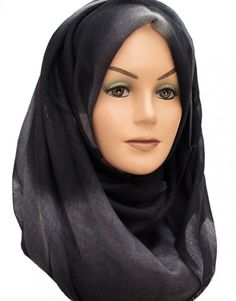 Black and Silver Grey Floral Maxi Hijab