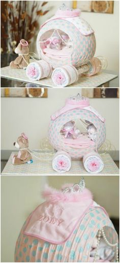 Gorgeous Cinderella Carriage Diaper Cake Cinderella Carriage Windelkuchen Diaper Gifts and Diaper Cakes (Visited 6 times, 1 visits today) Baby Shower Crafts, Baby Shower Fun, Girl Shower, Baby Shower Parties, Baby Shower Themes, Shower Ideas, Baby Shower Gifts To Make, Cinderella Baby Shower, Cinderella Carriage