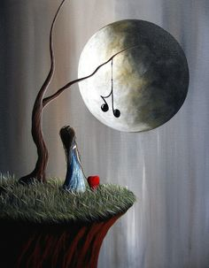 Shawna Erback music notes on tree branch in front of full moon