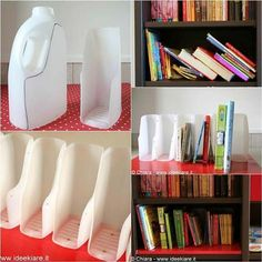 Organize Your Books by These Cutting Milk Bottles.