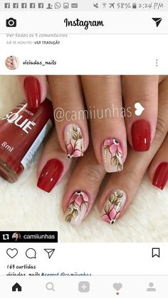 Nail Tattoo, Flower Nails, Pedicure, Nail Designs, Nail Art, Irene, Tattoos, Chile, How To Make