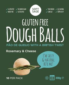Gluten Free Vegetarian Rosemary & Cheese flavour dough balls www.softsage.co.uk