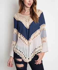 $35.99 Love this Navy Color Block Crochet Top on #zulily! #zulilyfinds