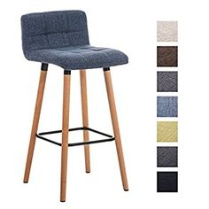 CLP Bar Stool LINCOLN, with fabric seat and wooden frame, comfortable backrest & footrest, choice of colours light grey: Amazon.co.uk: Kitchen & Home