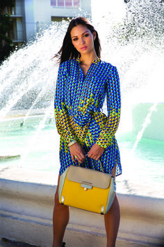 Marc by Marc Jacobs paradox print silk tunic shirt dress, 'Sheltered Island' colorblocked top-handle bag