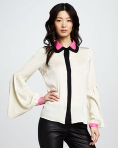 Eline Lantern-Sleeve Blouse by Milly -- Love the new take on bell sleeves.