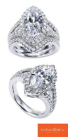14k White Gold Diamond Halo Engagement Ring by Gabriel & Co.