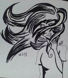 #Inktober day 1 by @INTPartgeek | Every artist has had a point in their life when they draw some aesthetic girl with her hair blowing in the wind, but every girl can confirm that that's not the way it works. I'd like to be one of the few to present this situation realistically. x}