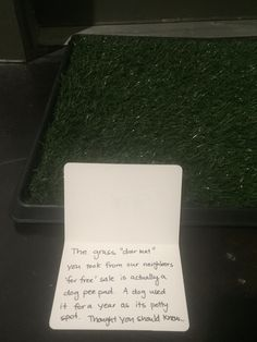 Thought we scored an awesome doormat from neighbors who moved... then other neighbors left us this note...