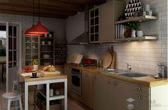 Ciepła kuchnia z elementami drewna