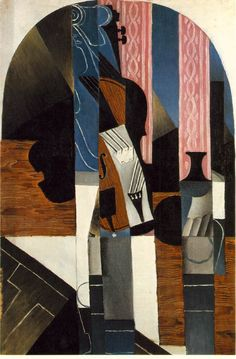 Violin and ink bottle on a table by @artistgris #juangris #syntheticcubism