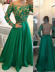 Chic Scoop Long Sleeves Green Open Back Chiffon Prom Dresses