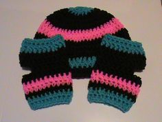 Aqua/Turquoise, Brown, and Bright Pink Crochet Beanie and Fingerless Gloves - Winter Hat and Gloves - Ready to Ship (#94R) by NoreensCrochetShop on Etsy
