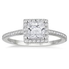 Save $3,100.00 on 1 Carat Princess Cut Diamond Halo Engagement Ring in 14K White Gold; only $899.00
