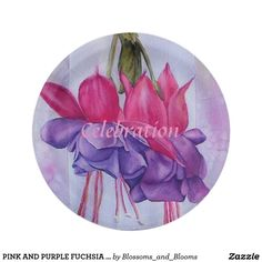 Party Paper Plates - Celebrate  sc 1 st  Pinterest & Pink and purple fuschia flower paper plates | Flower paper