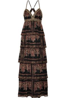 Sara Emanuel Tiered printed chiffon gown | THE OUTNET