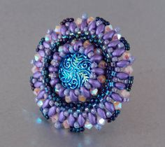 Ring,Bead embroidery , Seed beads jewelry, Fashionable ring, Statement ring, Blue , Purple, Czech glass buttons