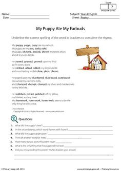 PrimaryLeap.co.uk - Poetry - My Puppy Ate My Earbuds Worksheet