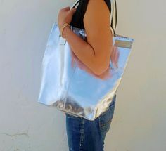 Wildstar Silver Foil Leather Tote bag .. handmade Tote bags
