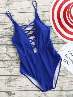 Blue Criss Cross V Neck One-Piece Swimwear
