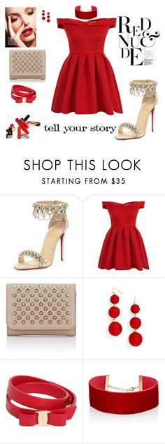"""""""Tell your story"""" by agnesmakoni ❤ liked on Polyvore featuring Christian Louboutin, Chi Chi, BaubleBar, Salvatore Ferragamo, Jules Smith and Tim Holtz"""