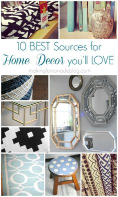Shhhh... here's a blogger's TOP SECRET source book with FAVORITE places to score unique (and inexpensive) decor that fits your style! When it comes to finding home decor you'll love, sometimes it pays to think outside the box. {10 Sources for Quick and Inexpensive Home Decor} #homedecor #sourcebook