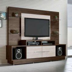 Compre Home Theater Dakar e pague em até 12x sem juros. Na Mobly a sua compra é rápida e segura. Confira! Tv Cabinet Design, Tv Unit Design, Backdrop Tv, Tv Unit Decor, Modern Tv Wall Units, Rack Tv, Tv Panel, Entertainment Wall, Framed Tv