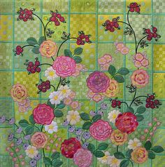 Quilt Inspiration: In Full Bloom : Springtime in Japan Embroidered Quilts, Applique Quilts, Wool Applique, International Quilt Festival, Flower Quilts, Patch Quilt, Quilting Tutorials, Fabric Art, Cotton Fabric