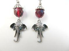 Red elephant earrings by jewelryandmorebykat on Etsy