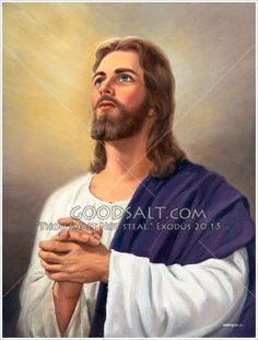 Jesus looking up with hands together