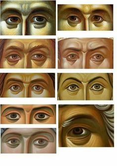 Icon painting technique, painting the eyes Eye Art, Byzantine Art, Writing Icon, Paint Icon, Church Art, Catholic Art, Byzantine Icons, Art Icon, Sacred Art