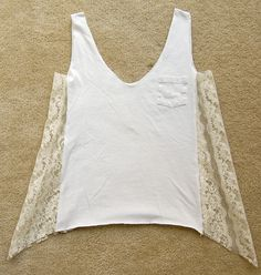 Discover thousands of images about Chic T-shirt Refashion Ideas with DIY Tutorials-DIY Lace Front/Bottom T-shirt Refashion Tutorial Shirt Refashion, T Shirt Diy, Diy Lace Shirt, Clothes Refashion, Lace Tee, Tank Shirt, Shirt Men, Diy Clothing, Sewing Clothes