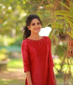 Red Linen Suit Neck Embellished Work