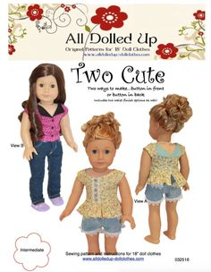 "Patterns for 18"" dolls such as American Girl or Our Generation available at www.alldolledup-dollclothes.com"