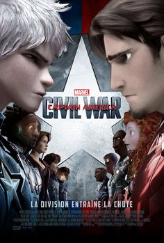Rise of the Brave Tangled Dragon in Civil War. Jack Frost vs. Flynn Rider.  Team Captain America: Jack Frost as Captain America, Wasabi (BH6) as Falcon, Princess Fiona as Scarlet Witch, Hiccup as Winter Soldier.  Team Iron Man: Flynn Rider as Iron Man, Merida as Black Widow, Lalo (Ratatouille) as War Machine, Buzz Lightyear as Vision, Ronin (Epic) as Black Panther.