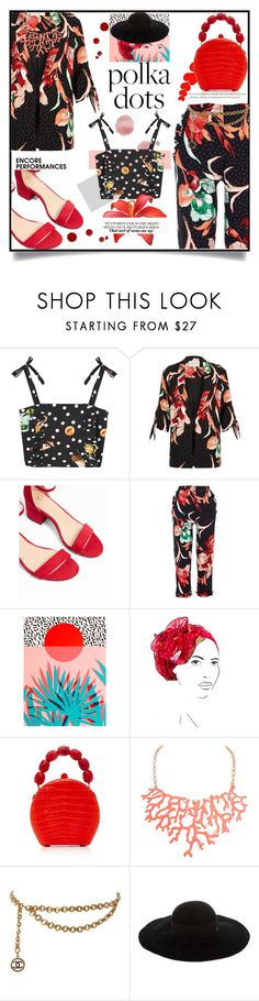 """Polka polka 🐾"" by zefanya16 ❤ liked on Polyvore featuring MANGO, River Island, Express, East End Prints, Rinati Lakel, Nancy Gonzalez, Humble Chic, Chanel and Eugenia Kim"