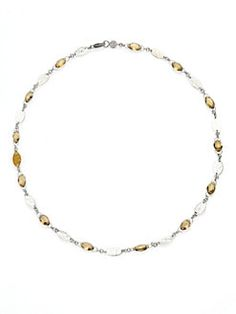 GURHAN - Willow Champagne Quartz, 24K Yellow Gold & Sterling Silver Bloom Necklace
